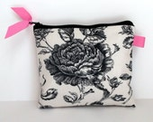 Cosmetic Purse Clutch or Tech Bag in Botanical Toile du Jouy with Pink dot lining