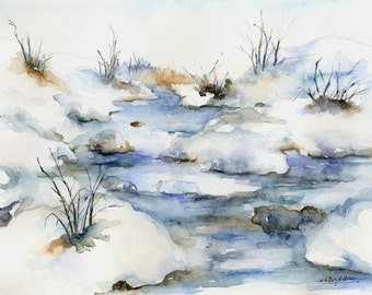 Watercolor Icy River Original Painting, Snow, Christmas, Winter River Picture