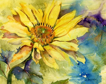 Watercolor Oxeye Daisy Giclee Print, Yellow Daisy Art, Yellow Daisies