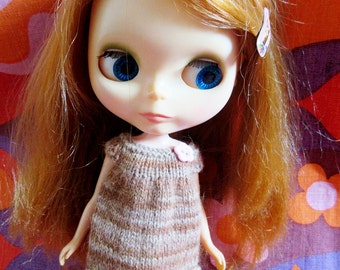 Odds & Ends SALE - Blythe:  Oatmeal smock dress with pink heart