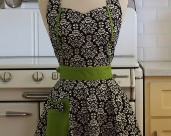 Retro Apron Black and White Floral Damask with Lime Green MAGGIE