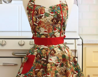 Apron Christmas Dogs MAGGIE Retro Full Apron
