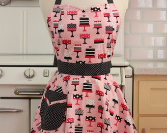 Retro Sweetheart Apron Pink Cakes - BELLA