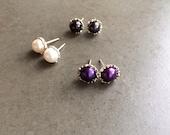 Filigree Pearl Stud Earrings Sterling Silver