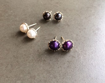 Filigree Pearl Stud Earrings Sterling Silver