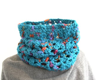Chunky crochet cowl, bulky circle scarf, acrylic wool blend tube neckwarmer, turquoise blue loop scarf, uk seller, choose your colour