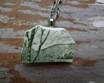 Broken china,green tree,plate necklace,alittlesparkle,vintage inspired jewelry