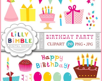 40% off Birthday Party clipart with balloons, gifts, confetti, candles, cupcakes, hats, Instant download