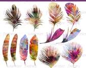 Watercolor Feathers Clip Art, Feathers Clip Art, Digital Scrapbooking Elements, Digital Downloads, Digital PNG Clip Art, Feather Graphics