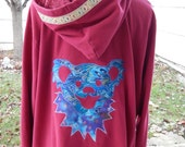 Upcycled Zip Up Hoodie Red Grateful Dead Dancing Bear hoodie OOAK Size 4XL womens plus size  Patchwork  Hippie clothes, boho chic,