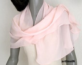 Light Peach Pink Sheer Silk Scarf, Unique Hand Dyed Silk Chiffon Scarf, Hand dyed, Petite Wrap, S XS Shawl, Gift for Girl, Artinsilk.