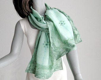 Hand Painted Silk Scarf, Light Green Coverup, Avocado Scarf, Hand Dyed Wrap, Pistachio Aqua Fern Green, Moss Green, Jossiani, Ready to Ship