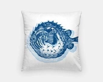 "Nautical Decor- Blowfish Pillow- 16"" x 16"" Throw Pillow- Nautical Pillow- Decorative Pillows- Throw Pillows"