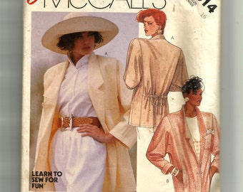 McCall's Misses' Unlined Jacket Pattern 2914