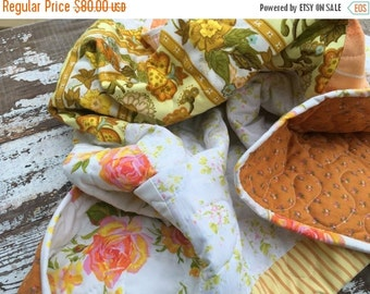 30% OFF SUPER SALE- Upcycled Baby Quilt-  Flower Power Linens Collection-Tangerine Garden