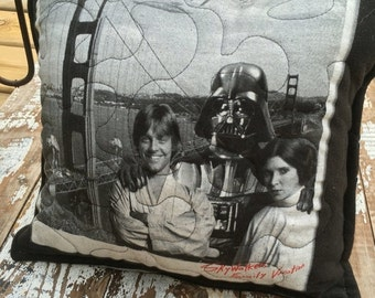 40% FLASH SALE- Star Wars Pillow-Throw Pillow--Upcycled Eco Friendly-Quilted-Skywalker Family Vacation