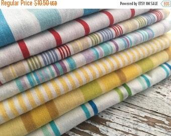 35% OFF CRAZY SALE- Fat Quarter Bundle- The Happy Stripe Stash  -Reclaimed Bed  Linens