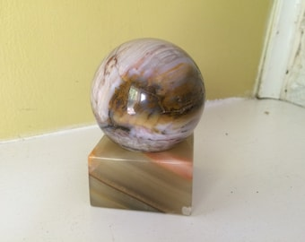 Stone Sphere with Agate Stand / Altar / Alabaster / Marble / Block Stand / Unusual