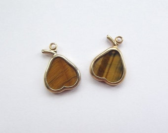 ON SALE Vintage tigers eye pear charms