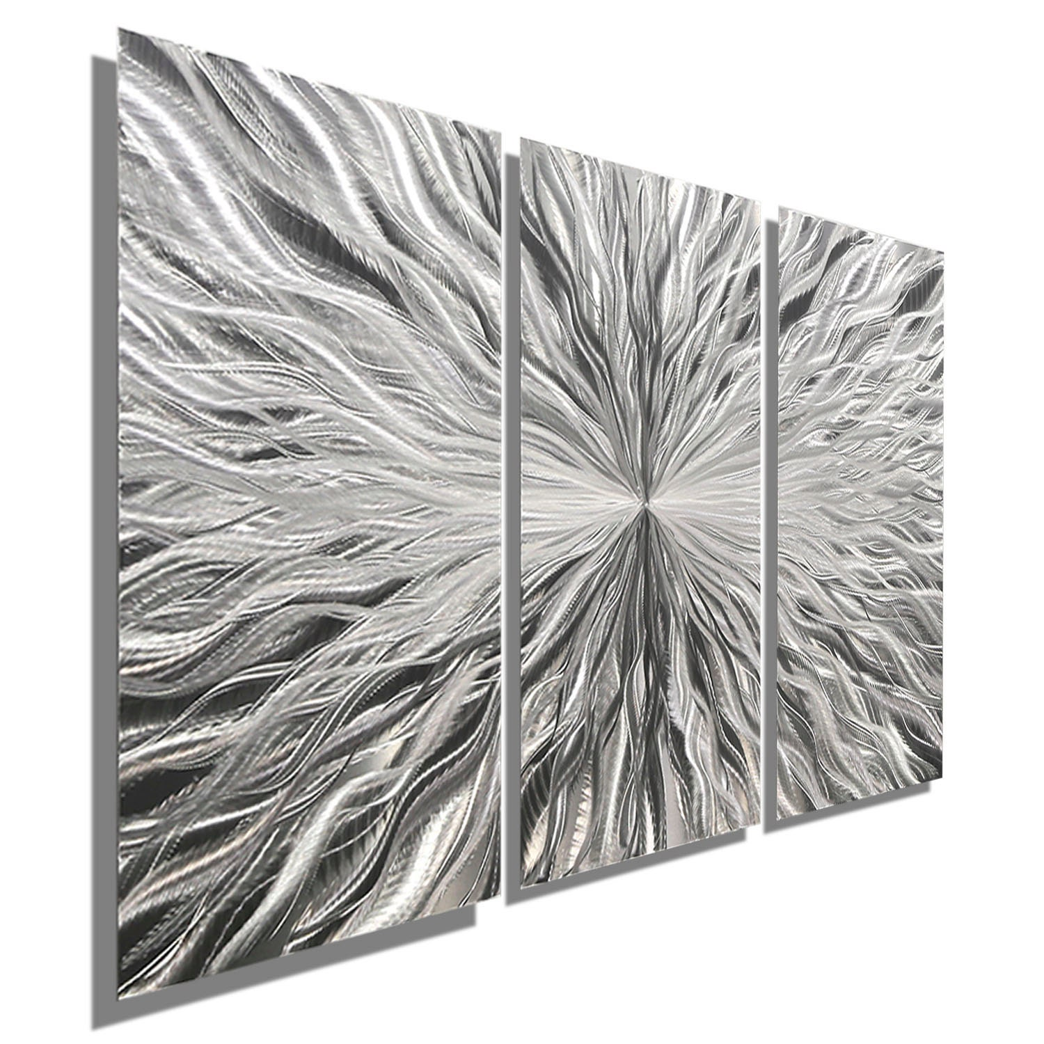 Multi Panel Silver Metal Wall Art Decorative Modern Metal