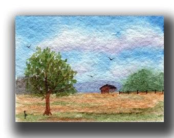 ACEO watercolor PASTURE  original painting SFA miniature dollhouse mini landscape
