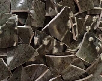 Vintage Mosaic Supplies Tiles Textured dark Olive Green Hand Cute Broken Vase 100