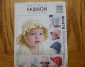 Baby Hat Pattern McCalls M4478, DIY, All size, Infant Hat, Lined hat, SEW Baby Boys/Girls caps/sunbonnets/beach/bucket, Newborn, Small to XL