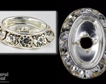 18mm x 25mm Crystal/Silver Oval Setting with Rhinestones #RSA059