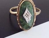 Antique 1930's Art Deco 10k gold green jasper and diamond ring | vintage Art Deco green jasper stone gold ring | size 6 1/4