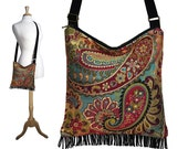 Bohemian Purse Gypsy Fringe Bag Slouch Hobo Hippie Purse Boho Shoulder Bag Zipper - Nadya Paisley Tapestry MTO