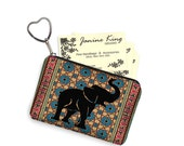 Elephant Business Card Holder Fabric Pouch Key Fob Small Zipper Bag Coin Purse Key Chain Tribal Moroccan Kilim Persian Rug blue red  MTO