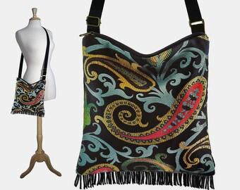 Black Crossbody Hobo Bag, Boho Sling Bag, Hippie Bag Boho, Cross Body Fringe Purse, Paisley Tapestry Bag, red yellow blue RTS