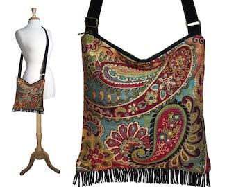 Bohemian Purse Gypsy Fringe Bag Slouch Hobo Hippie Purse Boho Shoulder Bag Zipper - Nadya Paisley Tapestry RTS