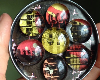 Metropoli -- Super-Powerful Magnet art Marblets with layered abstract cityscapes