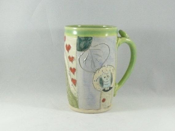 Big Ceramic Coffee Cup  / tea mug / teacup with tree owl - unique coffee mugs / holds 16 ounces beer stein tankard 301