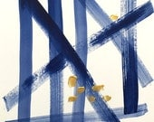 blue and gold blue and white art, modern art, graphic blue and white painting, abstract art minimalist art, indigo blue