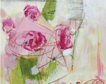 pink abstract painting abstract art roses pink art pink and green