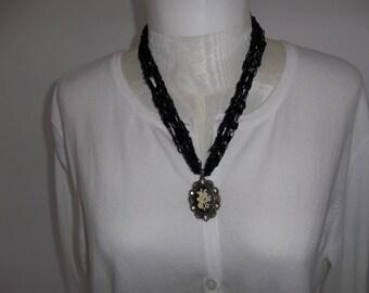 Black Crochet Ladder Ribbon  Lace Necklace with Pendent Black Trellis Lace Necklace
