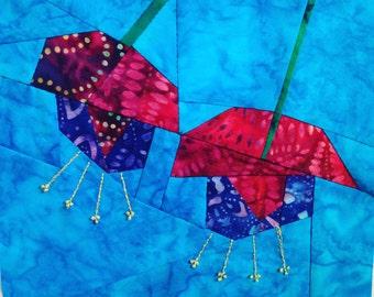 Fuchsia Flower Paper Pieced Quilt Block Pattern