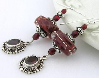 Red garnet lampwork sterling earrings cserpentDesigns red apple silver