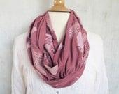 Infinity Scarf - Feather Print - 100% Organic Cotton - Raspberry