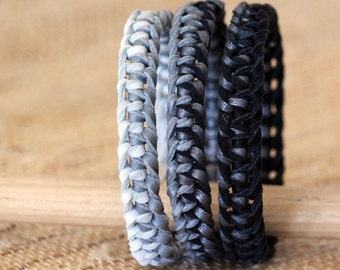 Set of Leather Ombre Macrame Bangle Bracelets 1/2 inches wide black / pewter / Grey / White colors - bohemian boho jewelry - 3 pieces