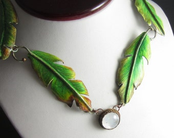 The Tropics Necklace - Prismacolor on Copper Banana Leaves with Moonstone