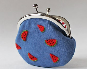 Coin purse watermelon purse red fruit denim blue kiss lock coin purse watermelon embroidery summer change purse hand-embroidery embroidered