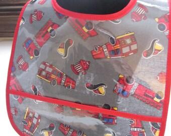 WATERPROOF WIPEABLE Baby to Toddler Wipeable Plastic Coated Bib Firetrucks