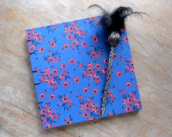 Blue Guest Book with Red Flowers, 8x8 inches, unlined torn pages, Ready to ship
