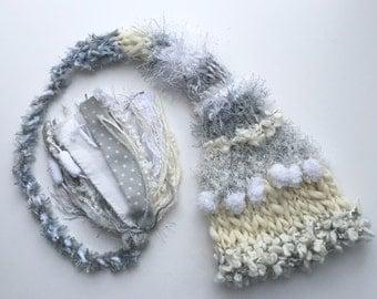 Grey Newborn Baby Knit Hat Baby PHoTO PRoP Textured Stocking Cap NeUTRaL Ivory White Silver Unisex Beanie BoY GiRL Long Tail TaSSeL Toque