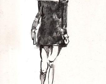 Original Figure Sketch - 11x14 Female Clothed Fashion Charcoal Drawing by David Lloyd