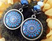 Blue Mandala leverback earrings - bronze *Free Shipping*