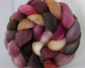 Hand Dyed Falkland Wool Combed Top Roving  (4.0 oz) - MOOD SWING - Spinning Fiber Hand Painted Kettle Dyed Braid Needle Felting Prop
